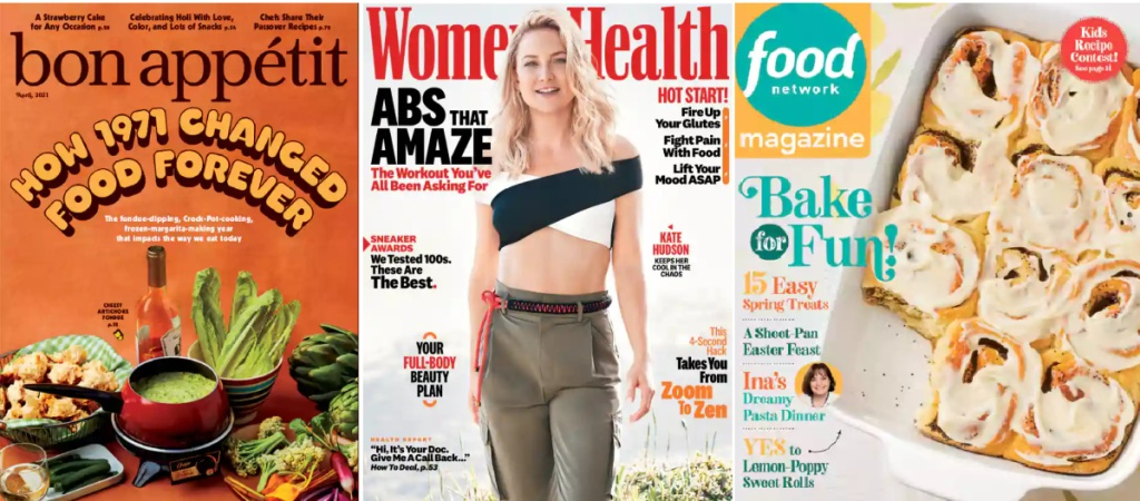bon appetit, women's health, and food netowrk magazine covers for april 2021
