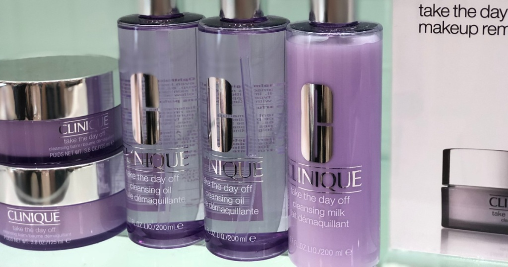 clinique face cleaning products lined up on shelf