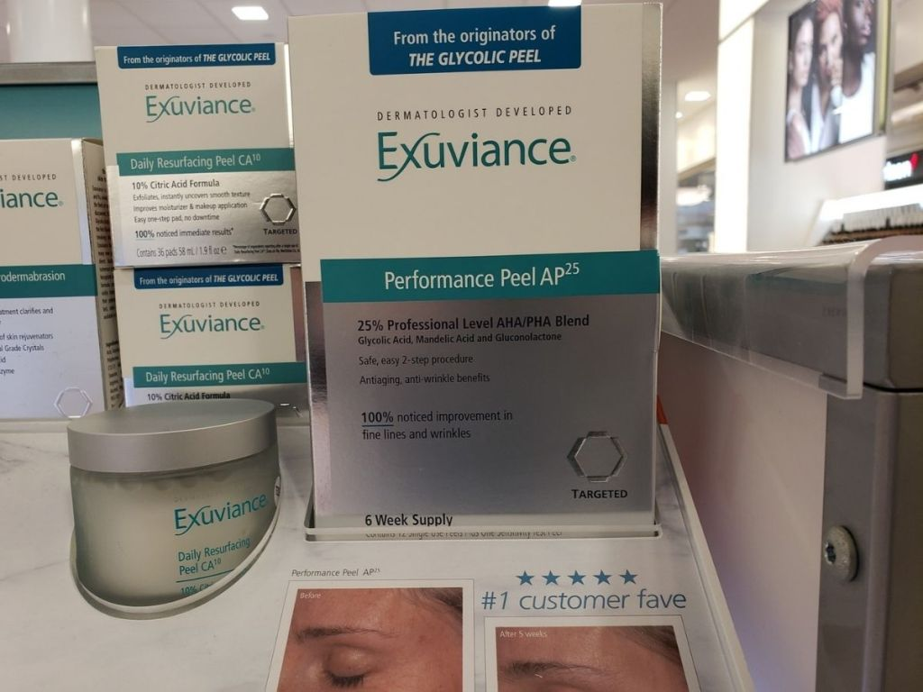 Exuviance peel in store