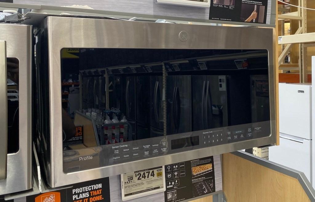 ge profile series microwave on display in store