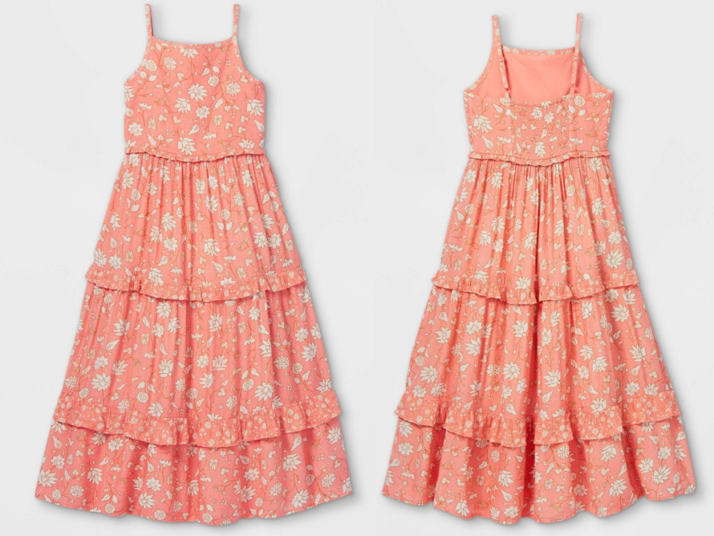 girls coral tiered maxi dress front and back