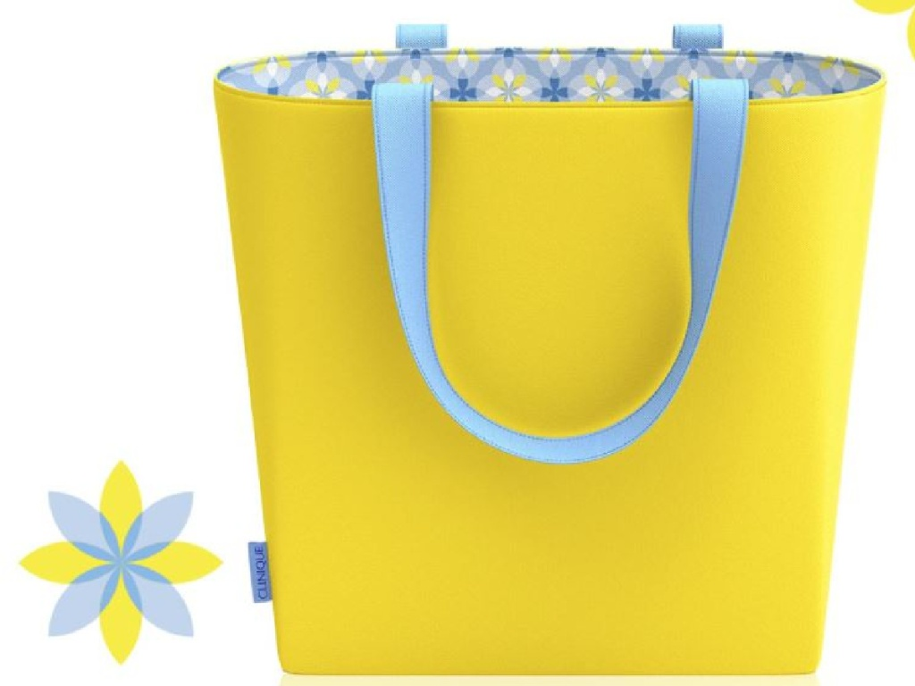 yellow tote bag with blue inside cloth