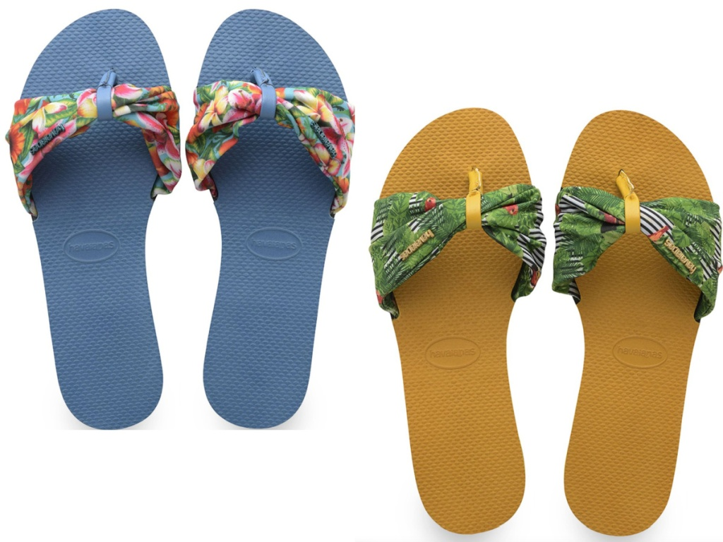 two pairs of havaianas womens slides