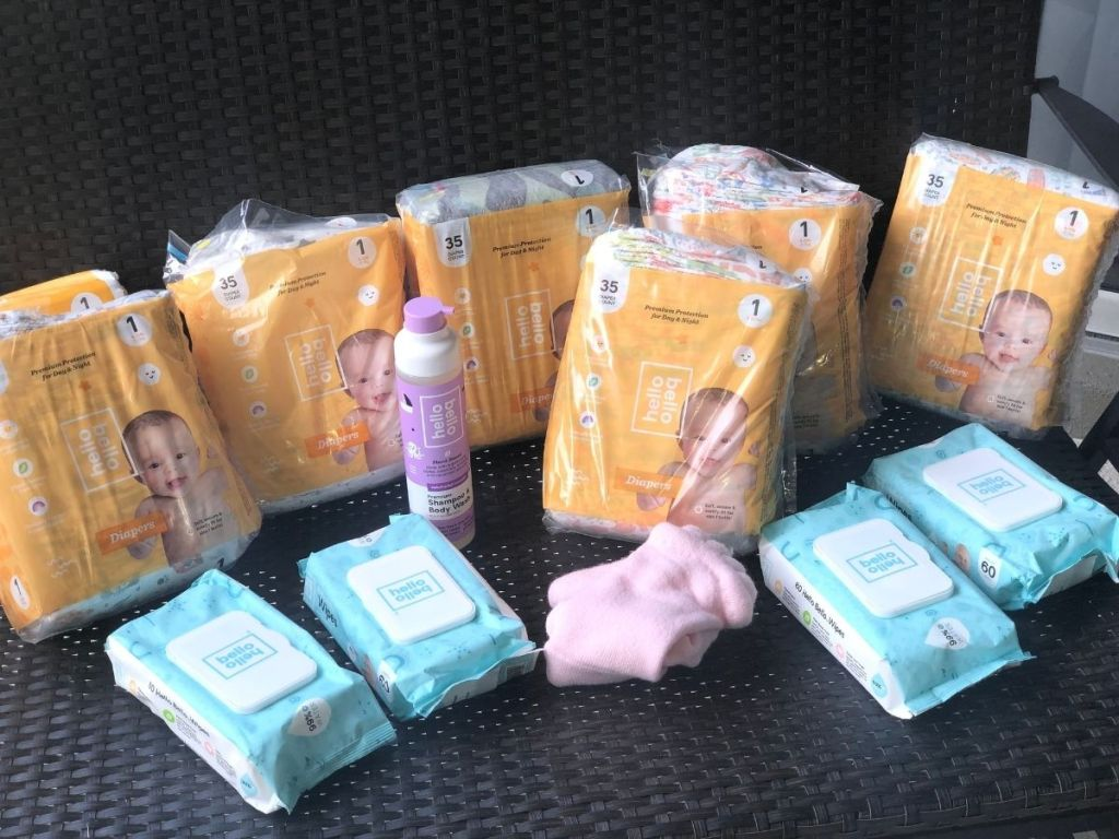 Hello Bello diapers, wipes, and baby shampoo