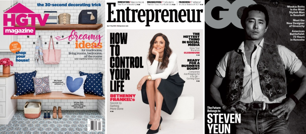 hgtv, entrepreneur, or GQ magazine covers for april 2021