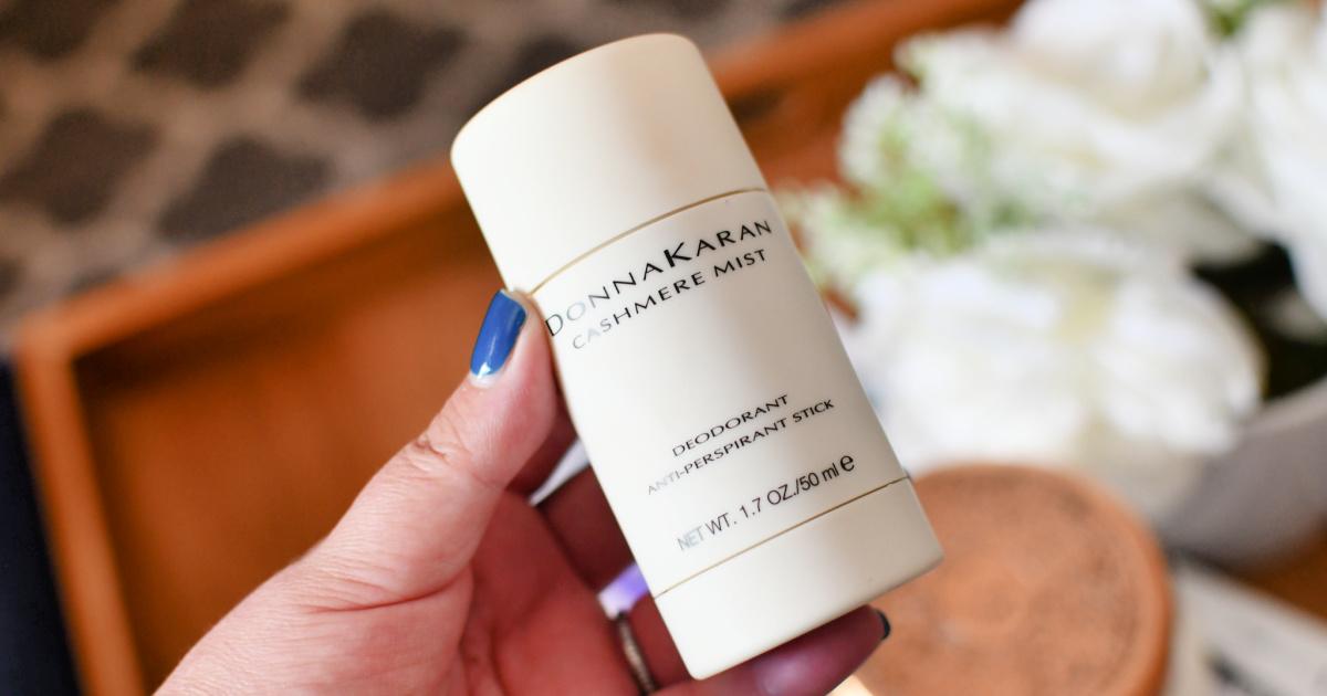 holding donna karan cashmere mist deodorant antiperspirant