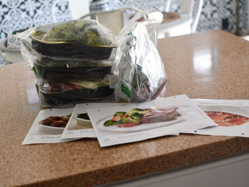 premade home chef meals on counter