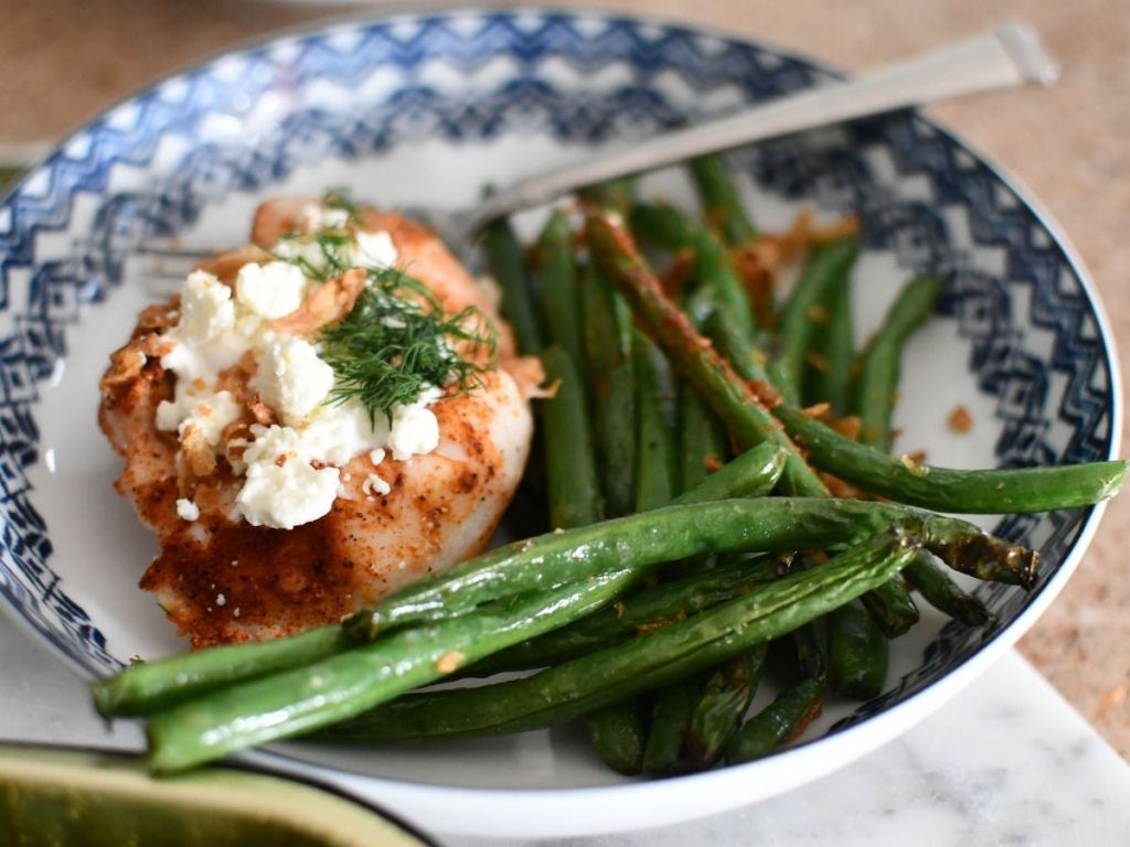 chicken with feta and green beans