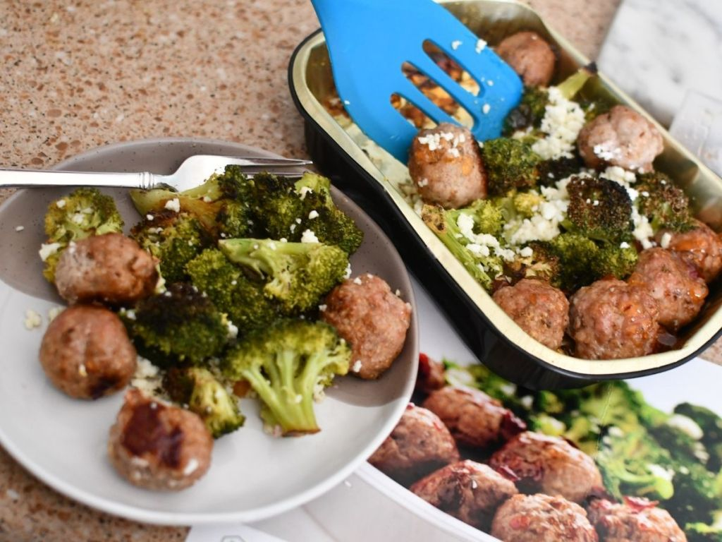plate of meatballs and brocolli