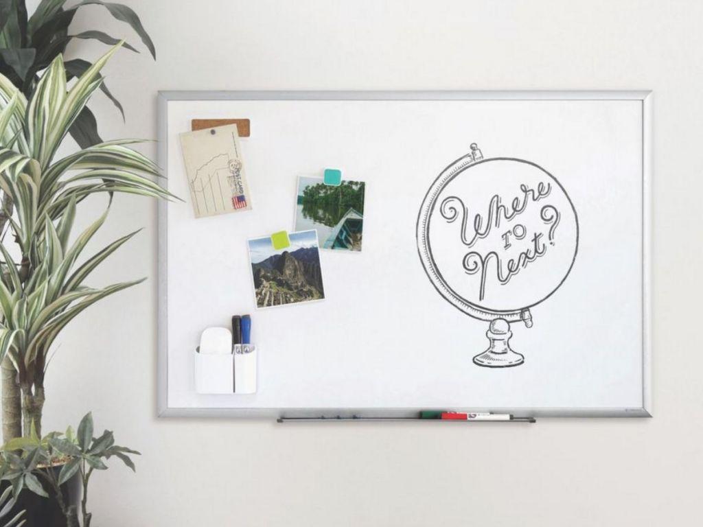 gray framed white board