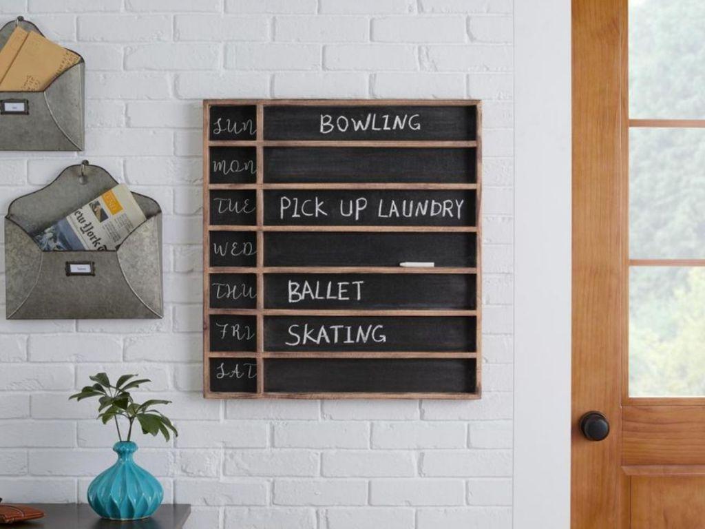 wooden chalkboard hanging