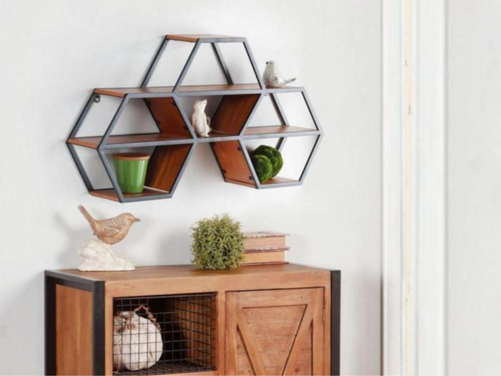 hanging wall hexagon shelf