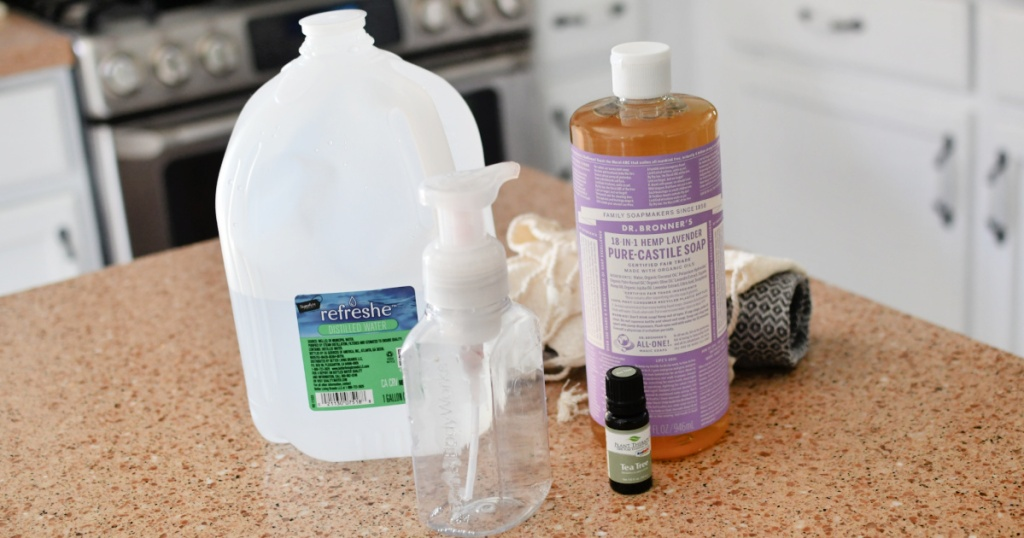 ingredients to make hand foaming soap refills
