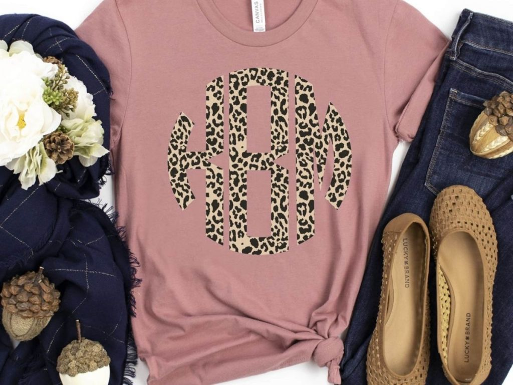 pink tee with leopard print initials