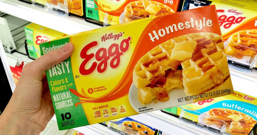 kellogg's eggo homestyle waffles in person's hand at store