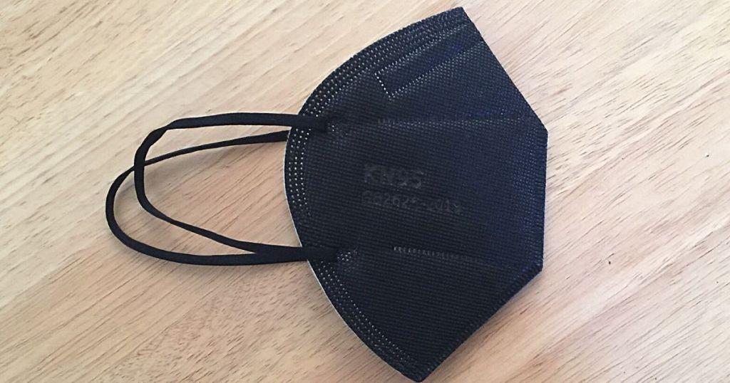 black KN95 folded mask