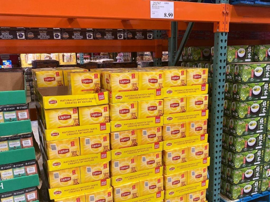 Lipton tea bags on palette in Costco