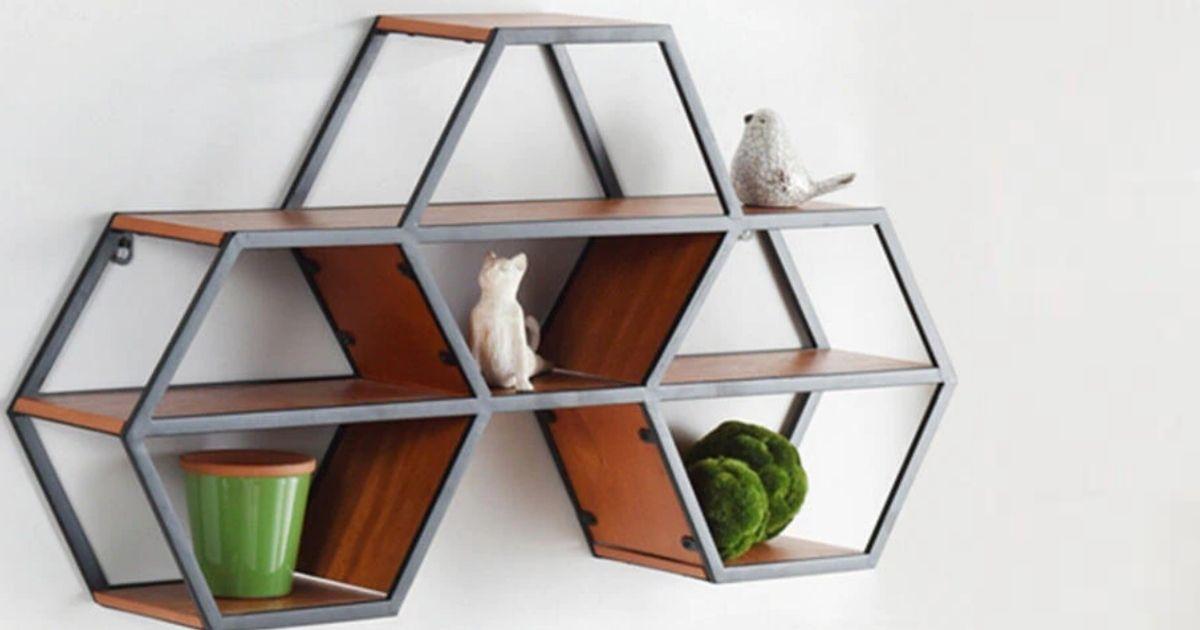 hexagon wood hanging shelf