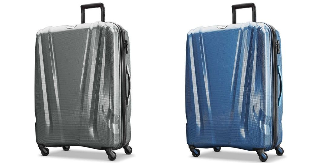 silver and blue luggage