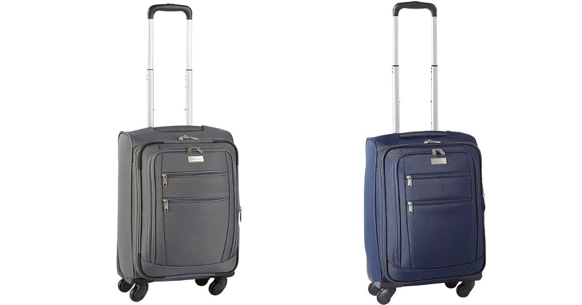 gray and blue luggage
