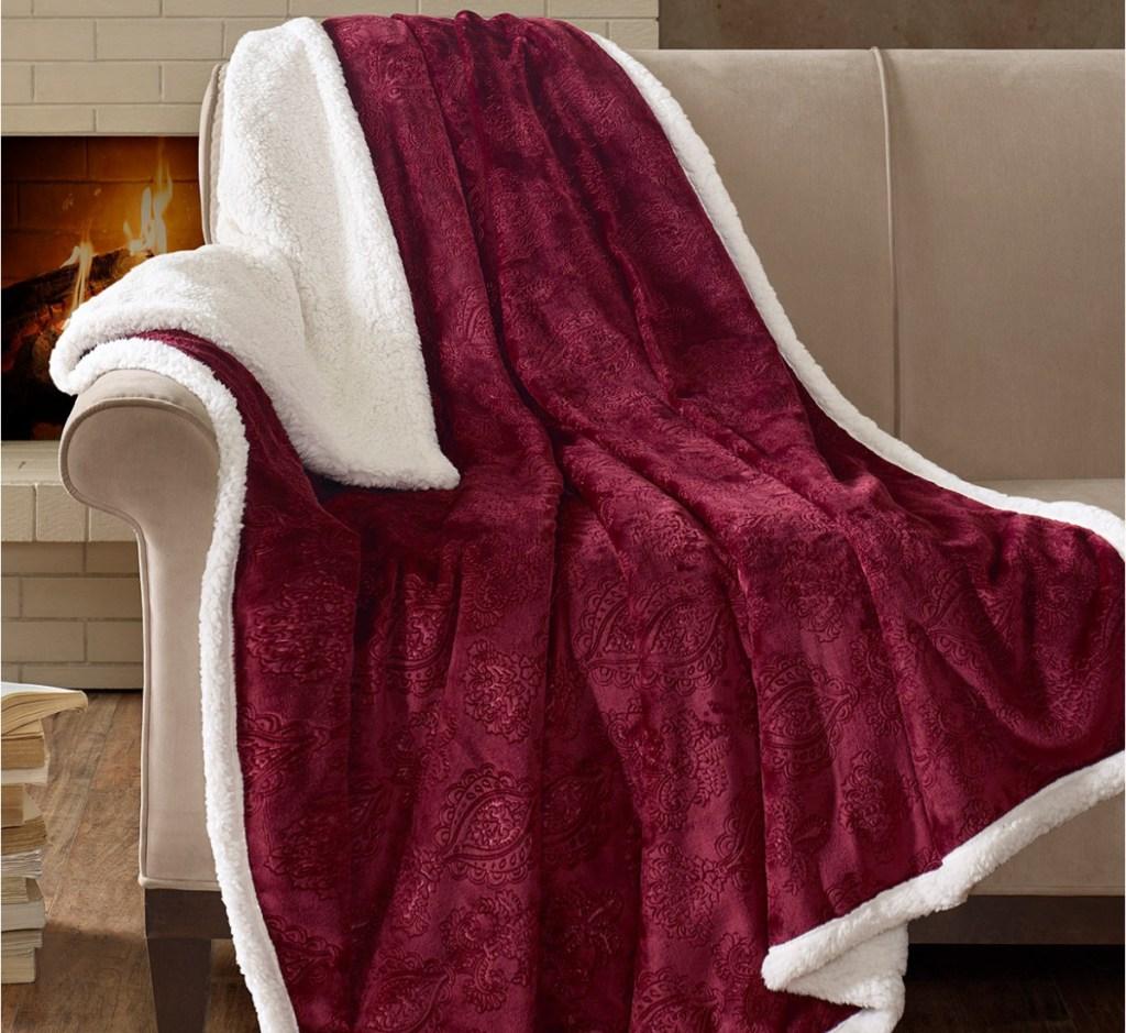 madison park throw blanket maroon