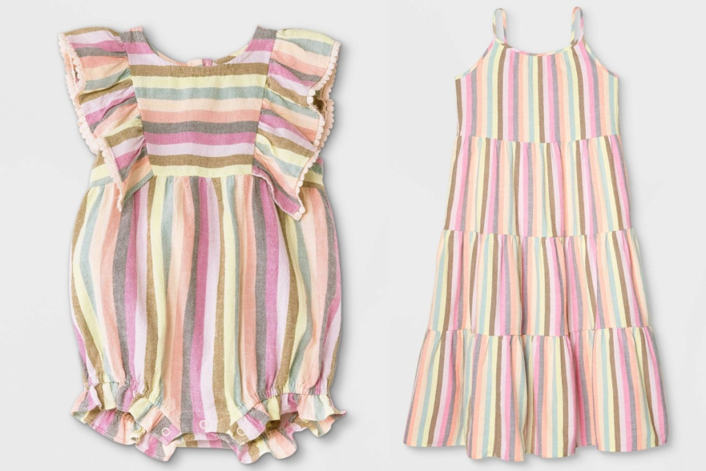 baby and girls matching striped dresses