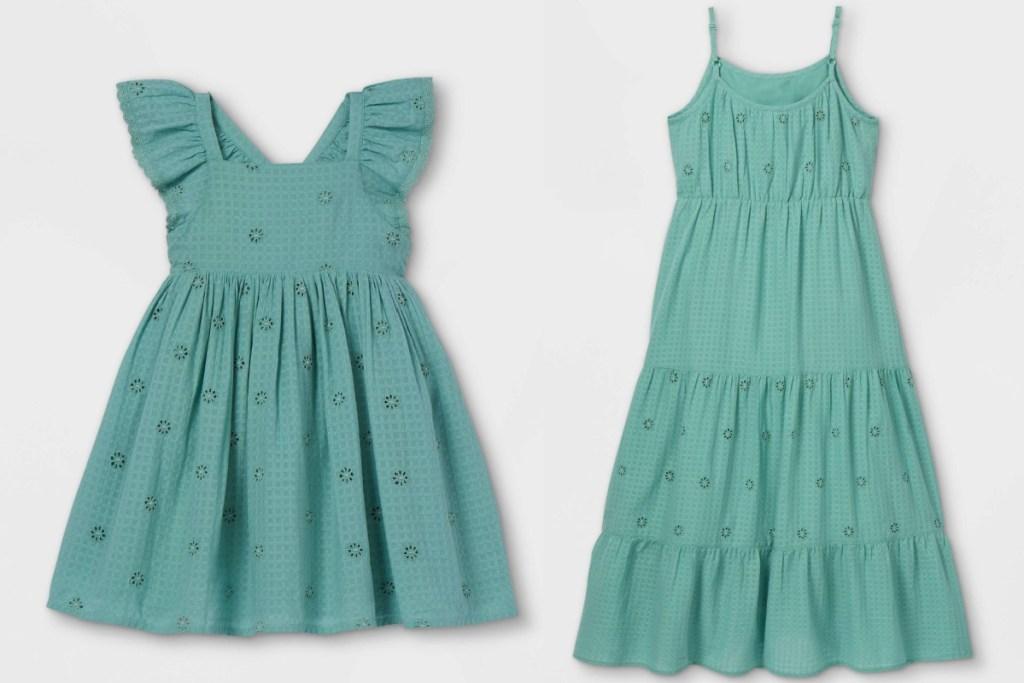 two matching teal ruffle dress