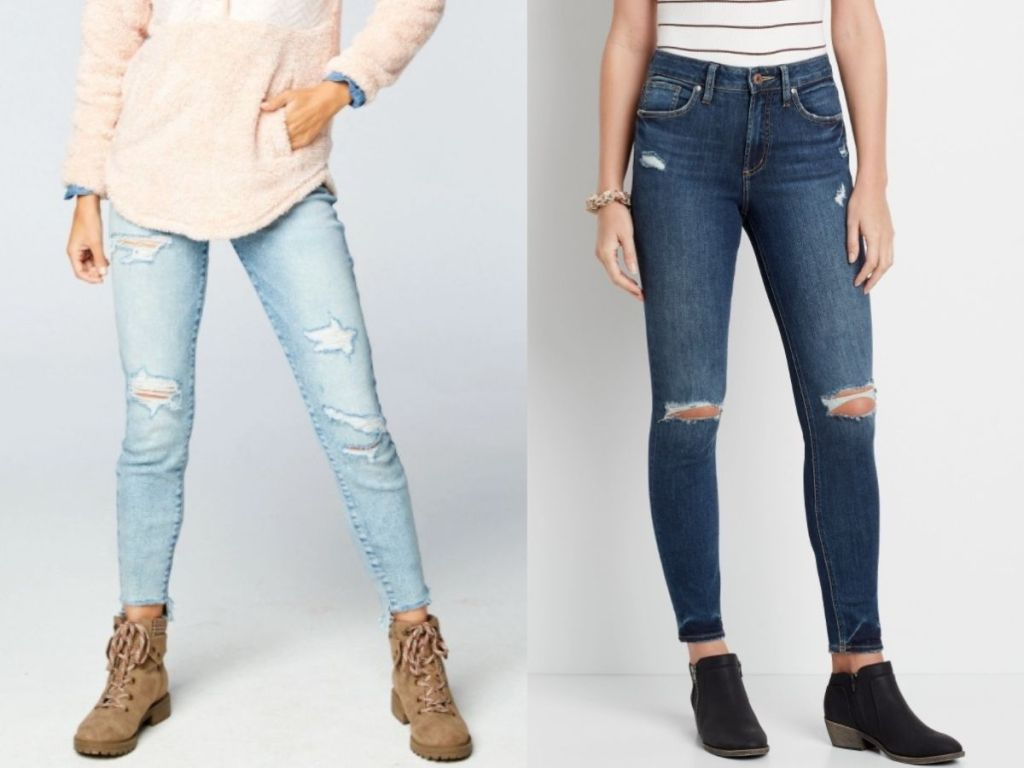 two pairs of maurice's jeans for women