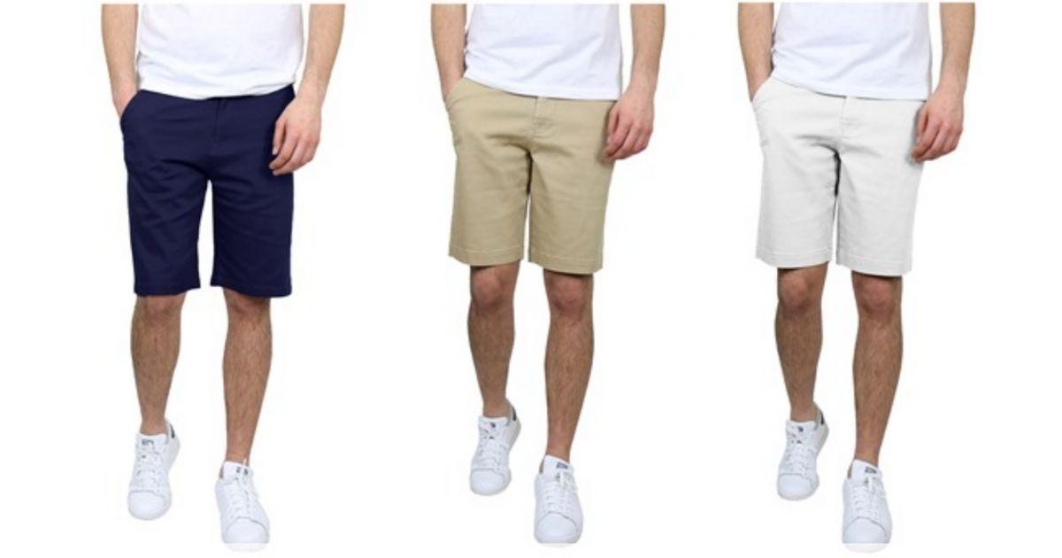 men wearing khaki shorts