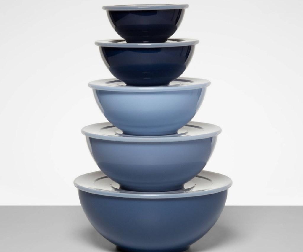 mixing bowl set blue stacked