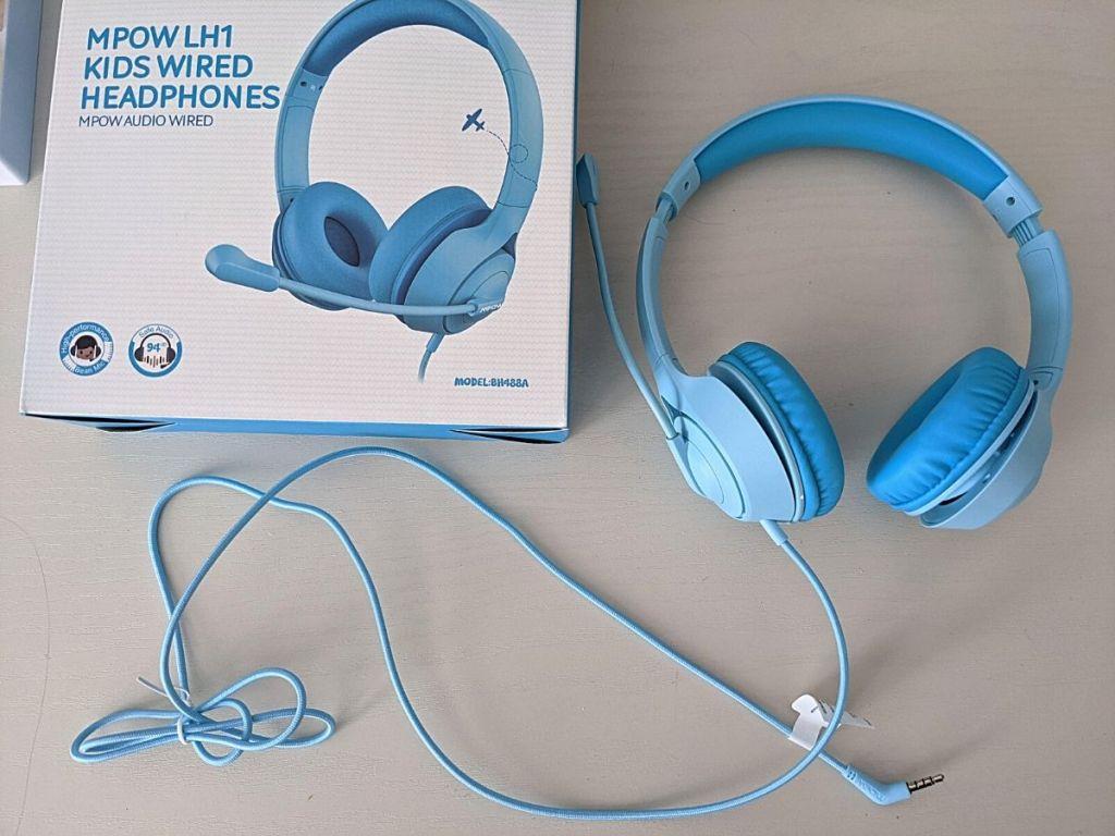 Mpow blue headphones and box