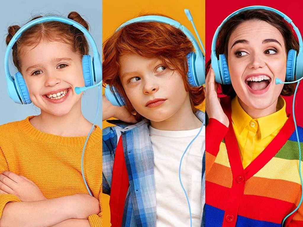 kids and teen wearing blue headphones