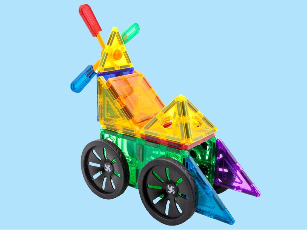 colorful PicassoTiles with wheels and windmill