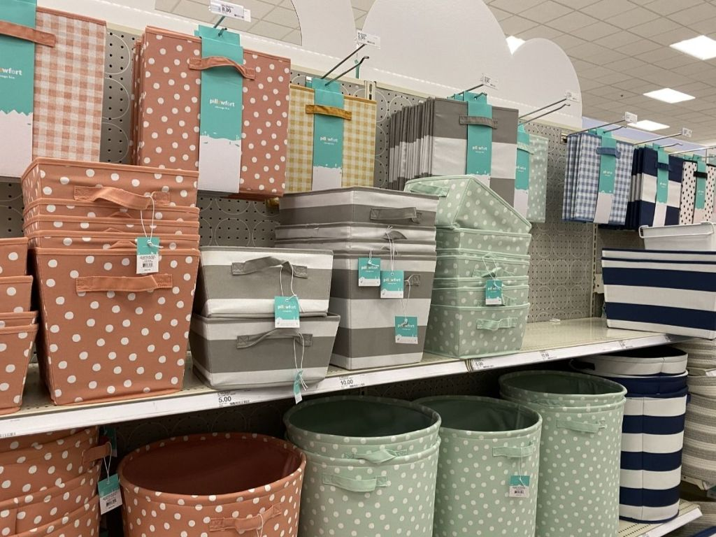 dotted and striped storage bins