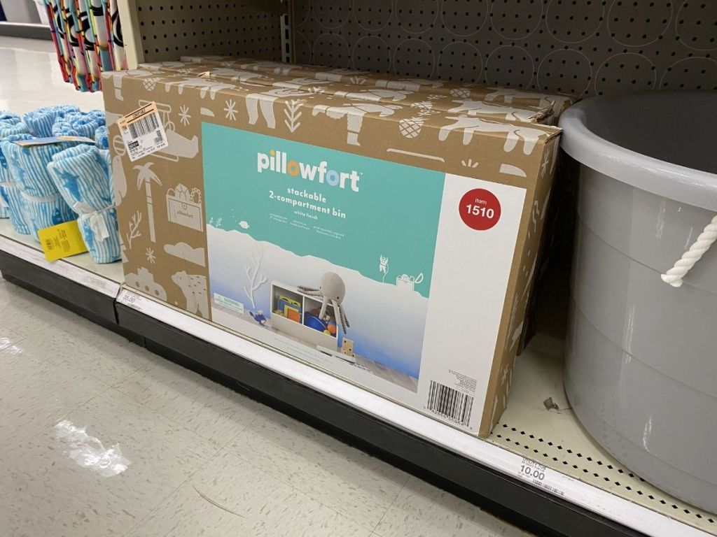 white stackable bin in box in store