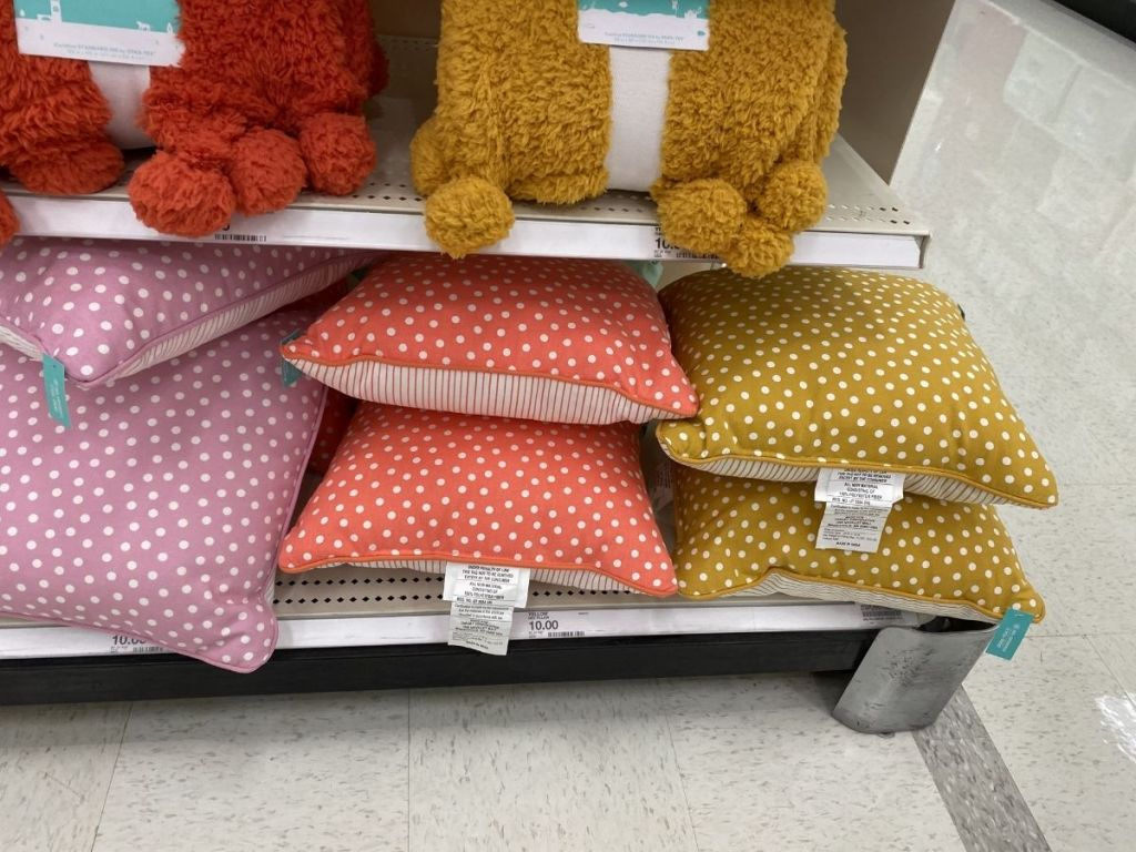 square dotted throw pillows