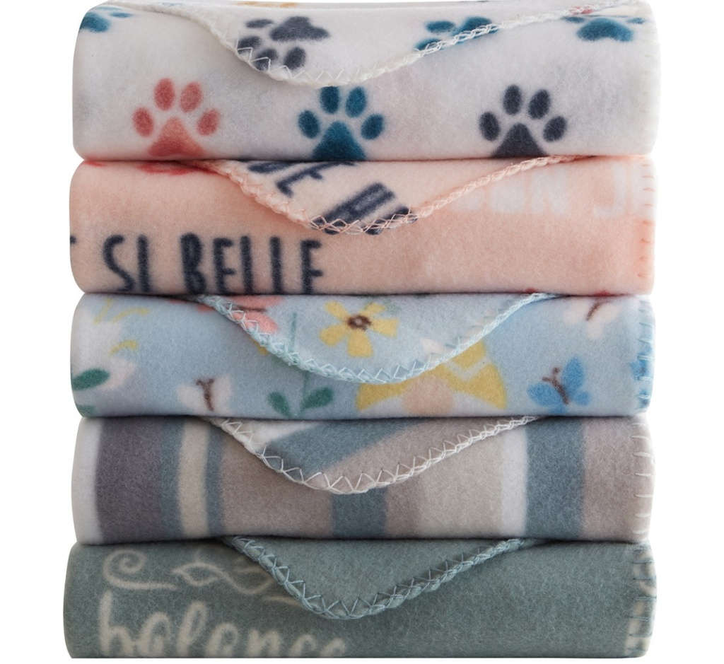 printed fleece blankets stacked