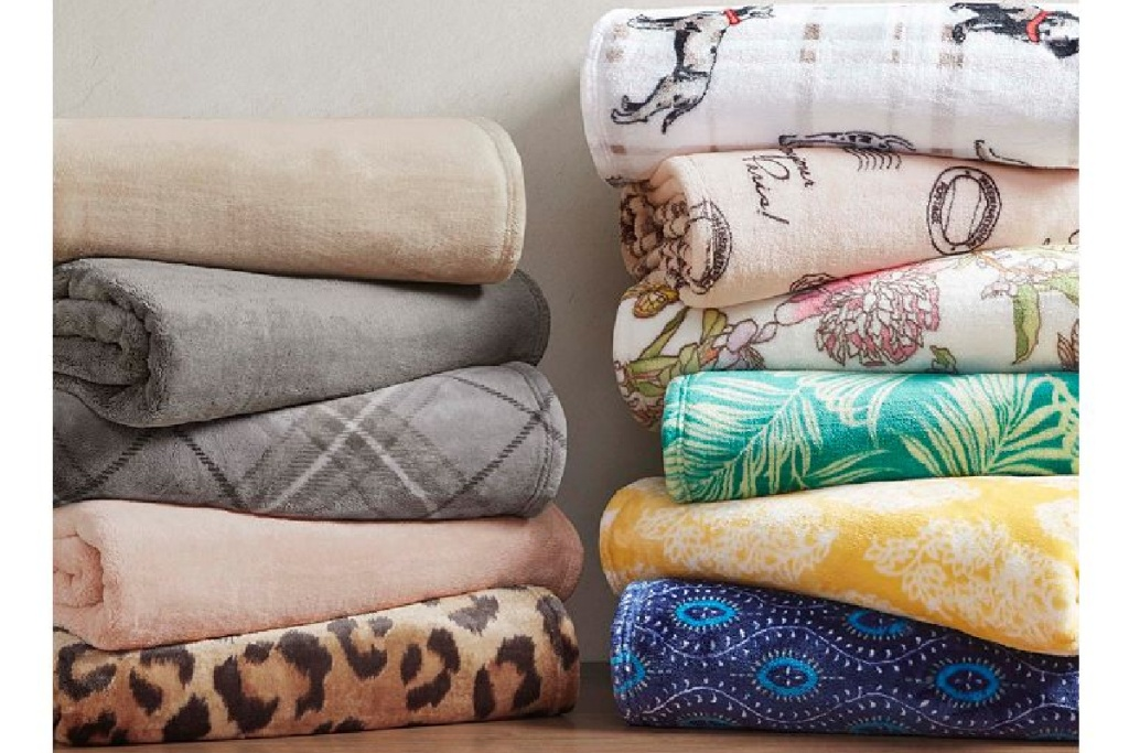 printed throws stacked