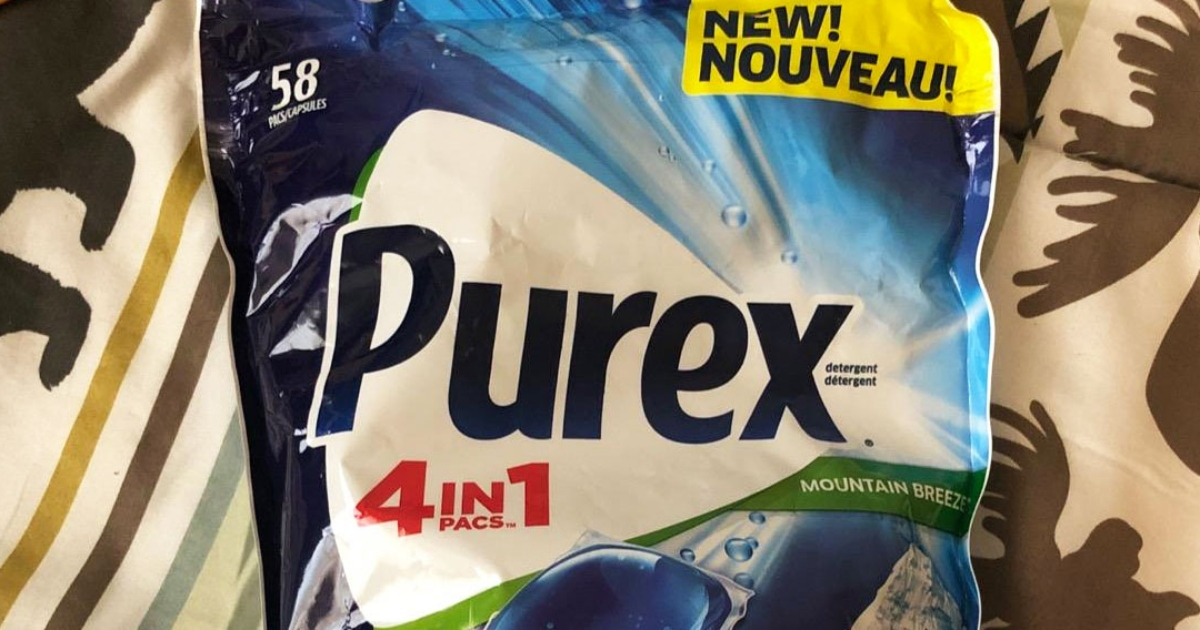 purex laundry detergent pacs in a blue and white bag