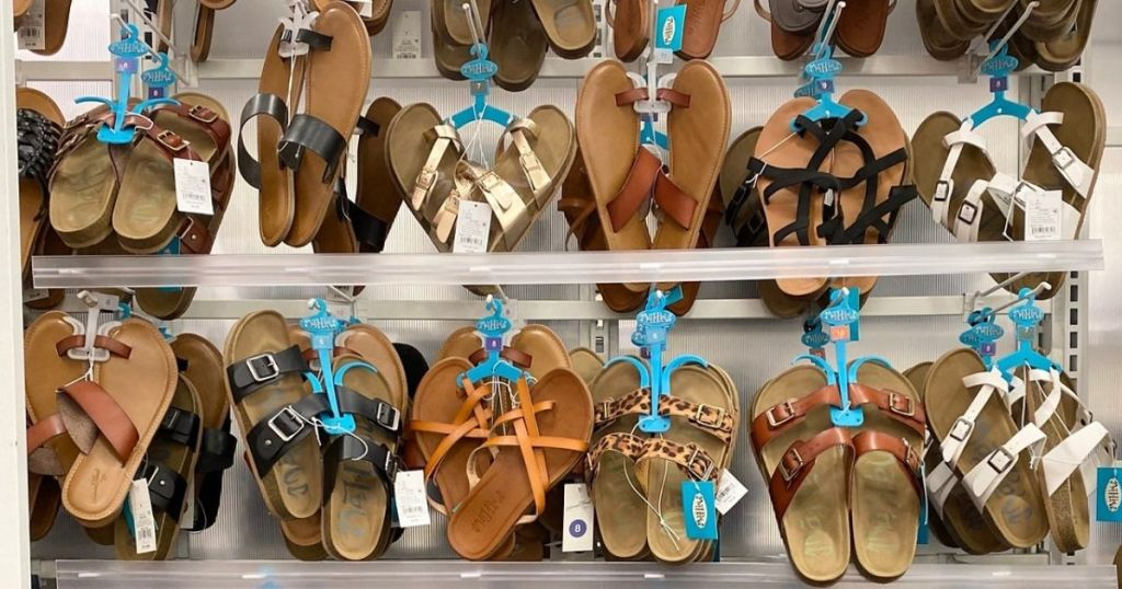sandals on racks