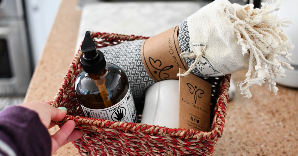 soap with hand towel gift basket