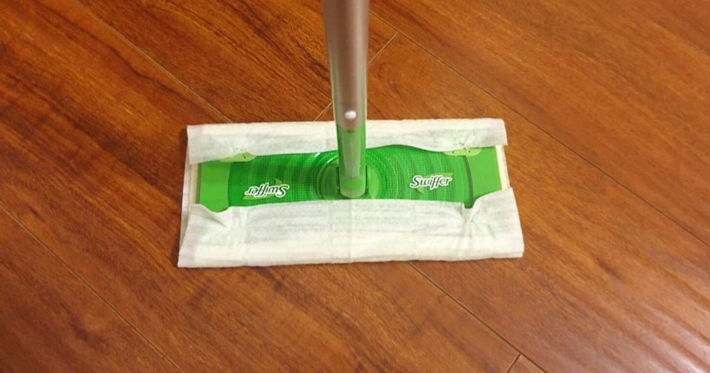 Swiffer mop with dry cloth