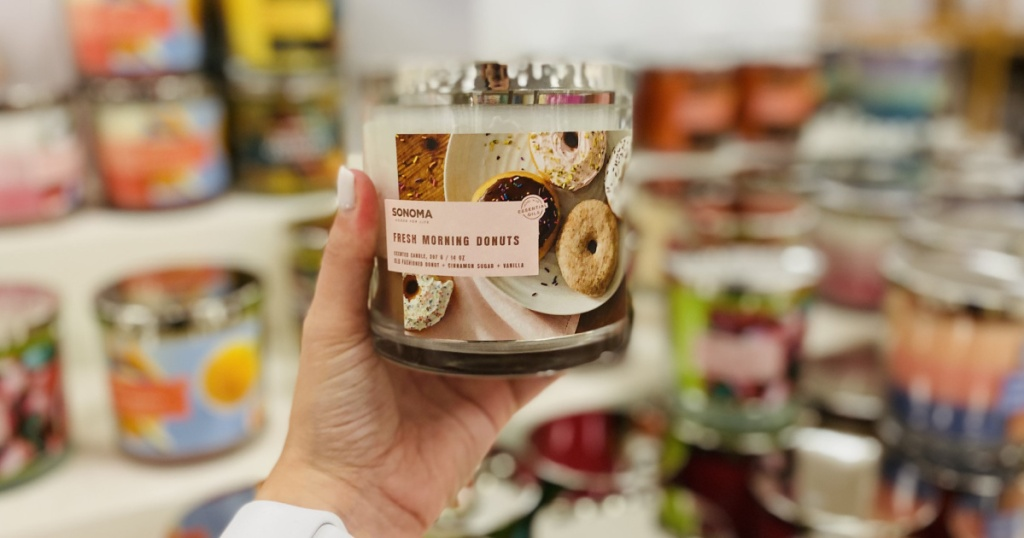 sonoma donut candles in hand at kohls