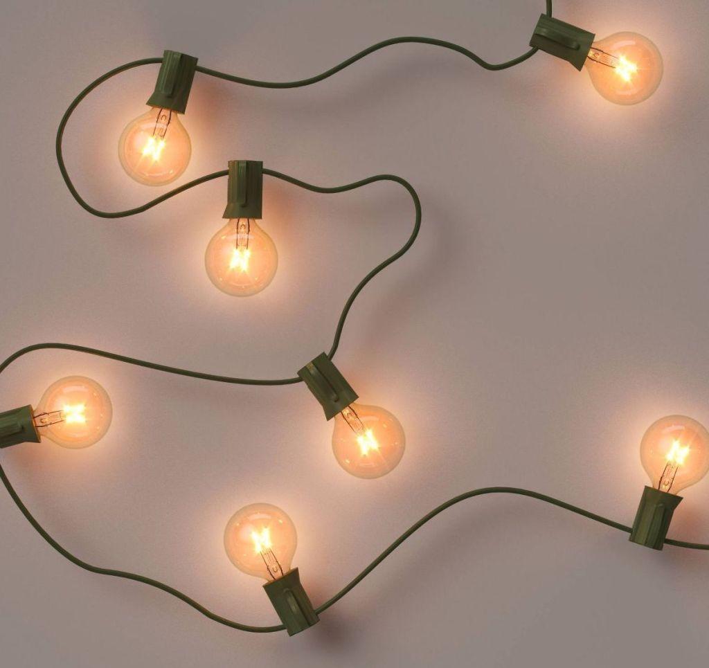 string lights lit up