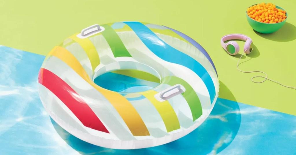 multi-colored pool float