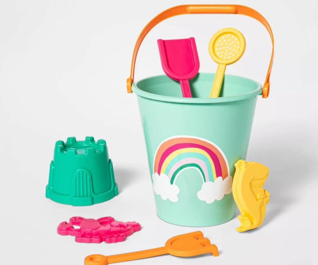 rainbow-themed sand bucket set