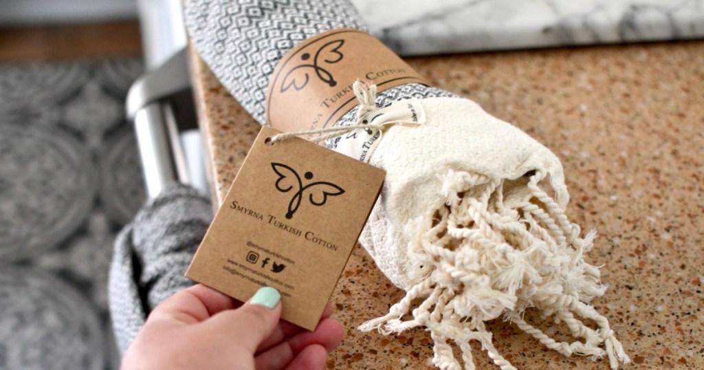 Turkish cotton bath towel on counter