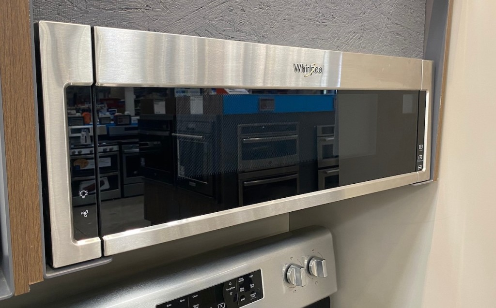 stainless steel whirlpool microwave above oven range