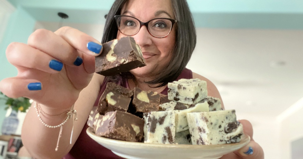 woman holding microwave 3 ingredient chocolate fudge