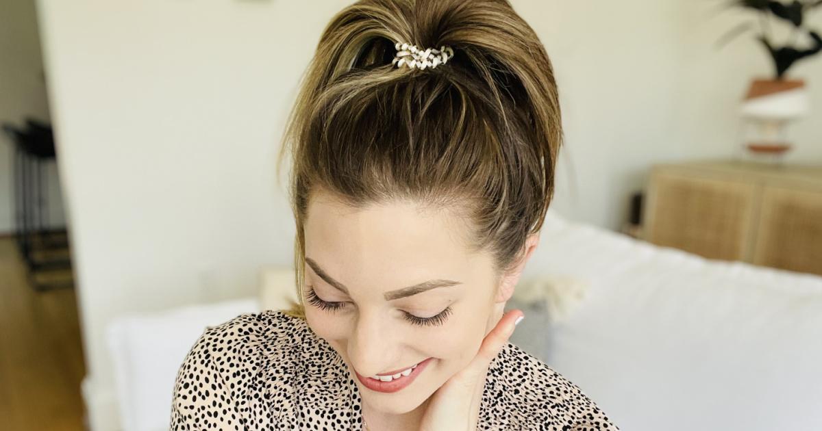 Teleties Spiral Hair Tie in woman's hair